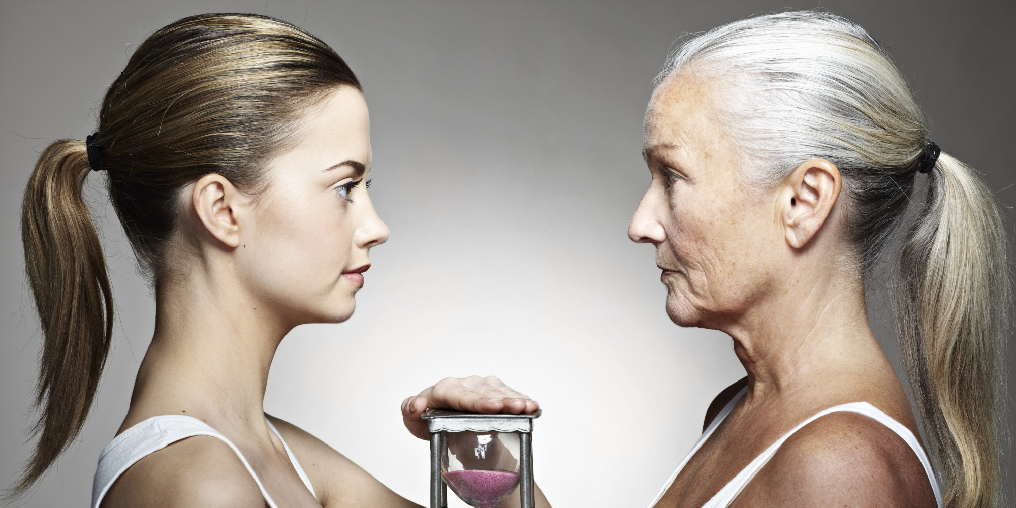 Younger and older woman with hourglass